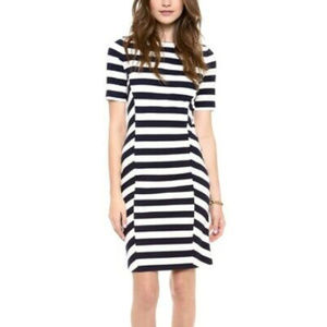 Tory Burch Augusta Navy Ivory Striped Sheath Dress